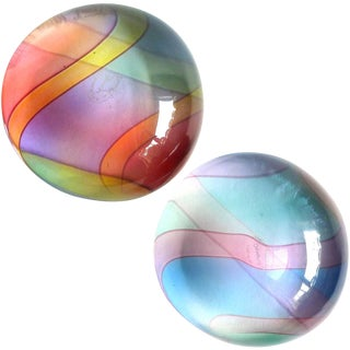 Archimede Seguso 1980s Murano Signed Rainbow Italian Art Glass Paperweights - a Pair For Sale