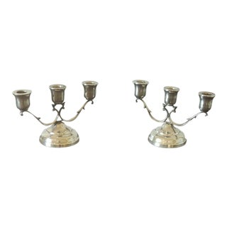 1950s C. Zurita Mexican Sterling Silver Candelabra - a Pair For Sale