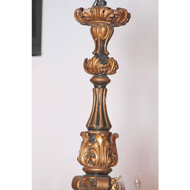 Italian Carved Wood Chandelier - Image 8 of 9