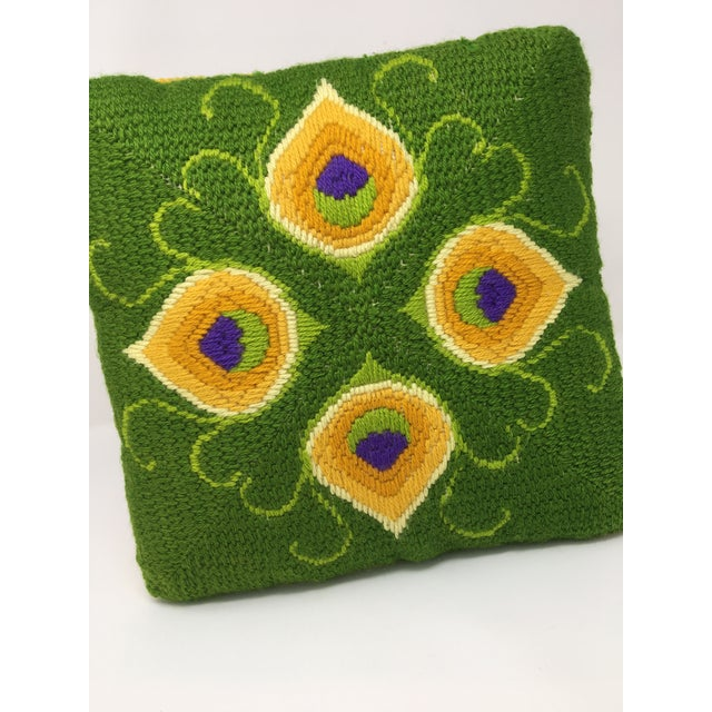 Textile Mid-Century Modern Artful, Handmade Crewel Pillow For Sale - Image 7 of 8