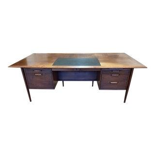 Mid 20th Century Alma Walnut + Mahogany Castilian Series Desk For Sale