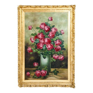 "Large ""Red Rose Bouquet"" Giltwood Framed Oil / Canvas Painting For Sale"
