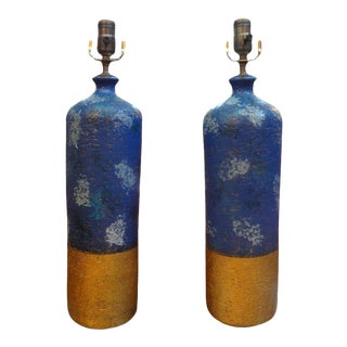 1960s Vintage Italian Aldo Londi for Bitossi Blue and Gold Pottery Lamps - a Pair For Sale