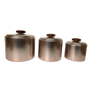 Blush Aluminum Mid-Century Canisters - Set of 3