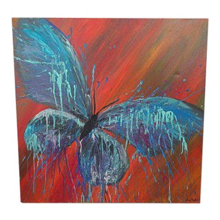 1970s Vintage Signed Abstract Butterfly Oil Painting For Sale