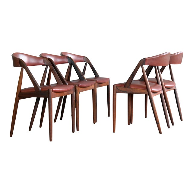 Kai Kristiansen Rosewood and Red Leather Model 31 Dining Chairs - Set of 5 For Sale