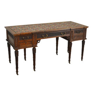 French Louis XVI Style Antique Carved Walnut Desk or Vanity For Sale