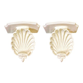 Pair of Hollywood Regency Large Shell Wall Brackets For Sale