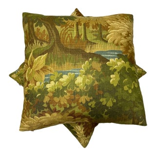 Scenic Flora Green and Gold Trees Pillow For Sale