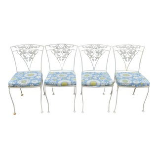 Early 20th Century Vintage Woodard Chantilly Rose Wrought Iron Patio Garden Dining Chairs- Set of 4 For Sale