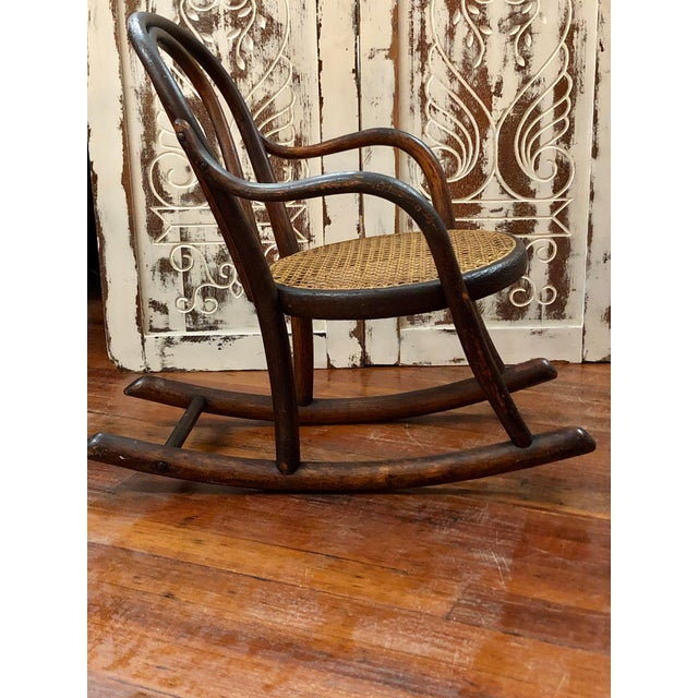 Late 20th Century Vintage Thonet Bentwood Childs Cane Set Rocker For Sale - Image 9 of 13