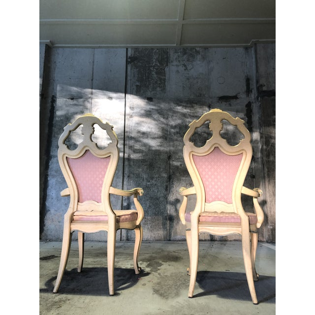 Light Pink Victorian Style Era Gothic Chairs- a Pair For Sale - Image 8 of 9