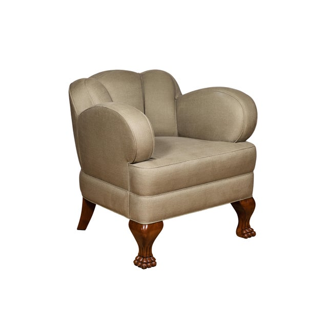 White Pat McGann Linen Upholstered Bear-Claw Chair For Sale - Image 8 of 8