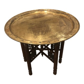 Moorish Brass Top Tray Table For Sale