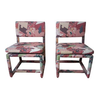 1950s Vintage Milo Baughman for Thayer Coggin Upholstered Chairs - A Pair