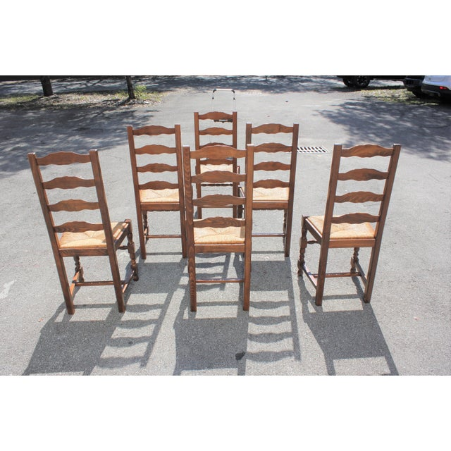 Early 20th C. Vintage French Country Rush Seat Walnut Dining Chairs- Set of 6 For Sale In Miami - Image 6 of 13