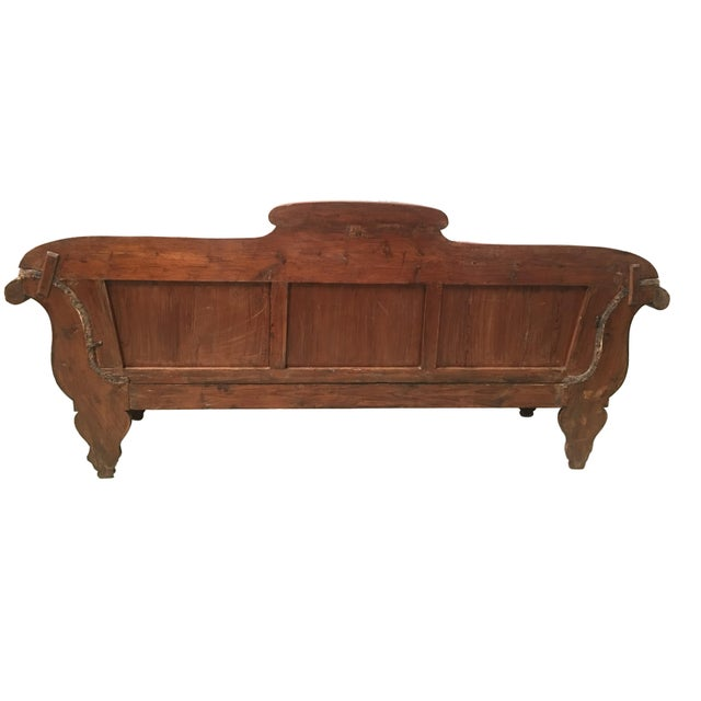 About 19th century French carved walnut bench, sofa, daybed upholstered in original damask Large and very elegant, with...