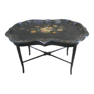 Mid 20th Century Chinoiserie Faux Bamboo Tray Table For Sale
