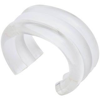 Judith Hendler Lucite Clear and White Cuff Bracelet For Sale