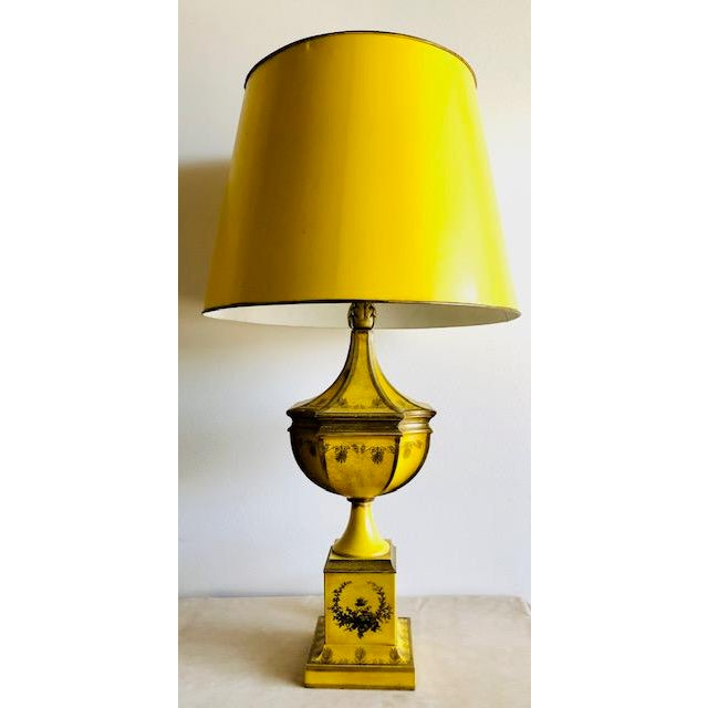 Yellow Tole Table Lamp With Tole Shade For Sale - Image 11 of 11