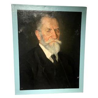 Vintage Male Portrait with Blue Border For Sale