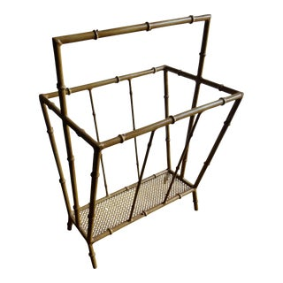 Mid-Century Metal Faux Bamboo Magazine Stand