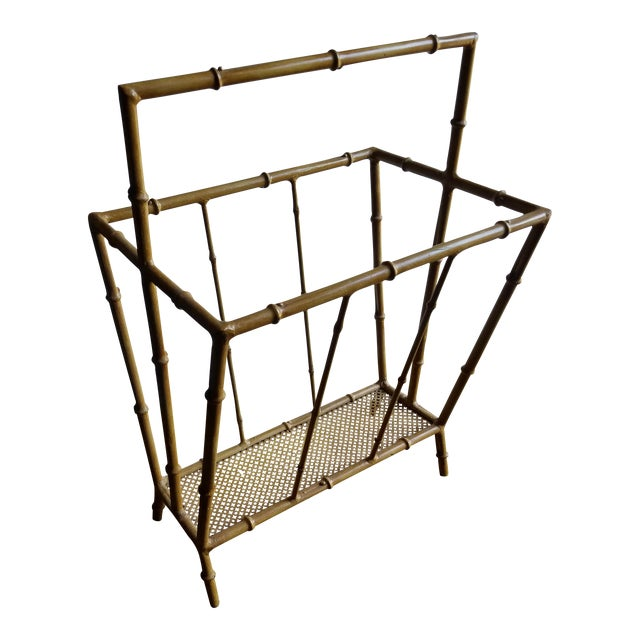 Mid-Century Metal Faux Bamboo Magazine Stand For Sale
