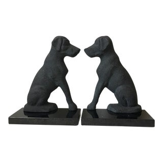 Vintage Cast Iron Pointer Bookends - A Pair