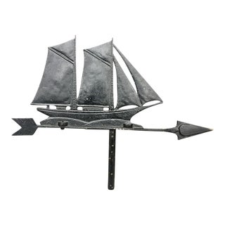 Vintage Blackened Metal Sailboat Weathervane Top For Sale