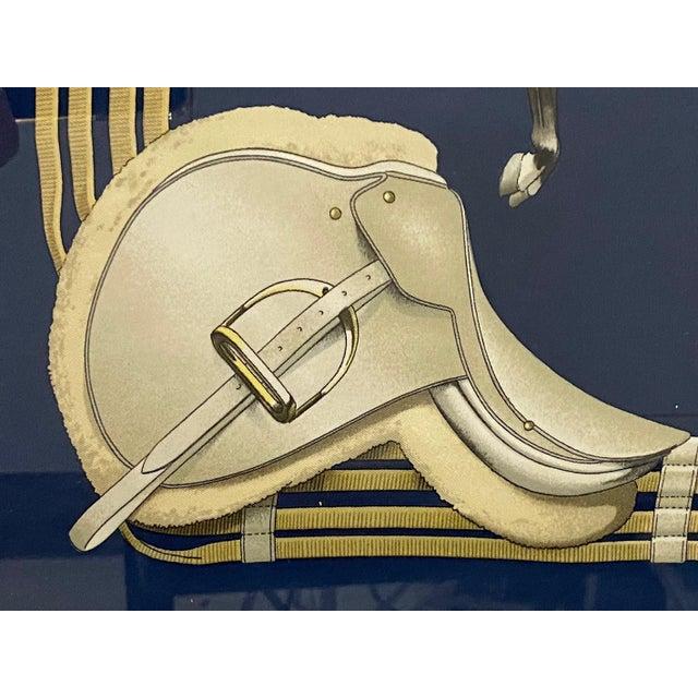 Framed Vintage Hermes Scarf in Navy Blue and Gold For Sale In Philadelphia - Image 6 of 9