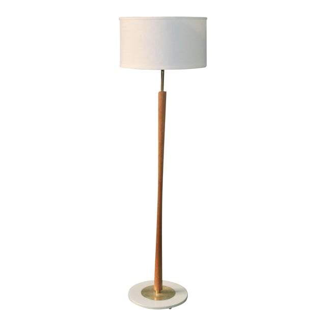 Vintage Brass and Walnut Wood Floor Lamp For Sale