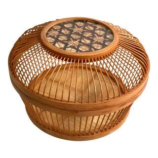 Vintage Mid-Century Wooden Lidded Basket For Sale