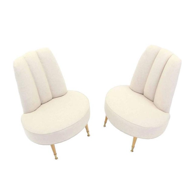 White Newly Upholstered Mid-Century Modern Slipper Chairs For Sale - Image 8 of 8