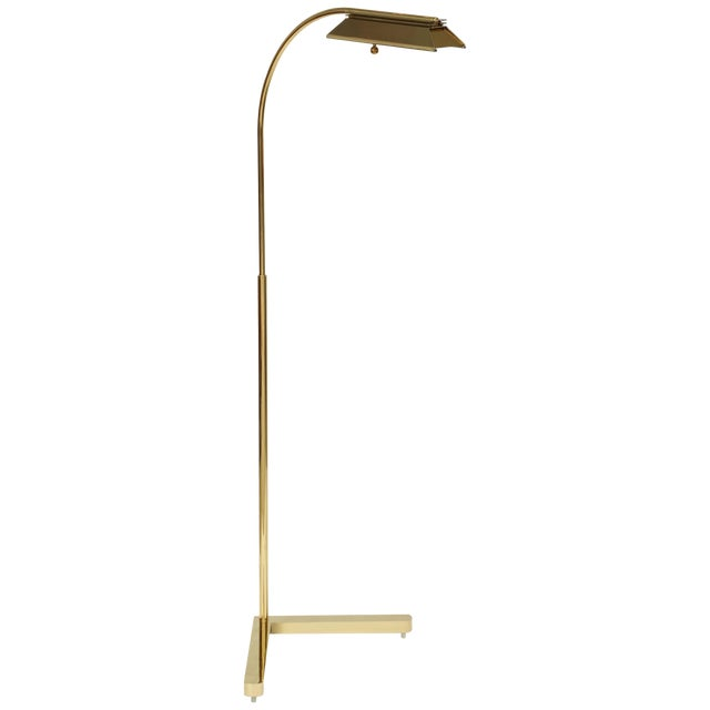 1980s Casella Lighting Adjustable Floor Lamp in Polished Brass For Sale