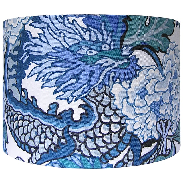DETAILS: - New, custom, handcrafted lampshade - Fabric: Schumacher's Chiang Mai Dragon in China Blue, a 100% linen fabric...