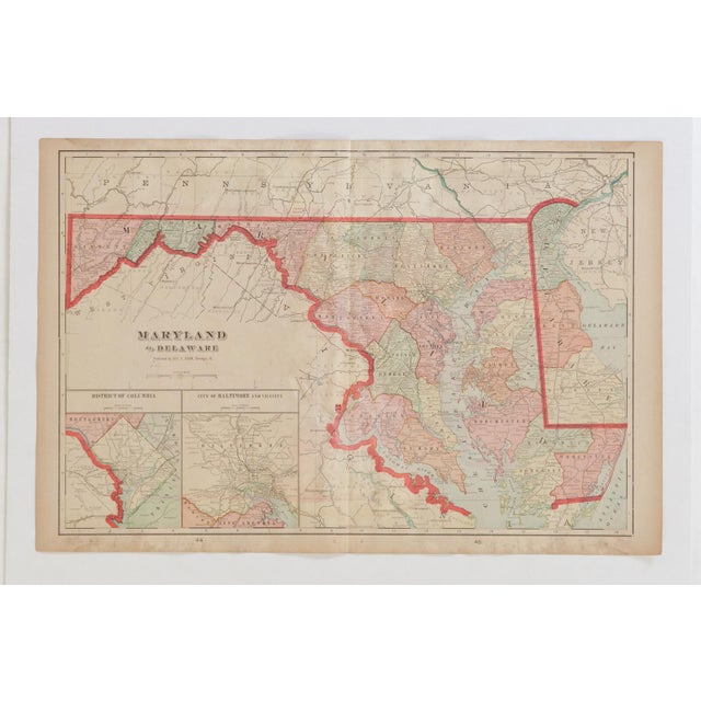 1900 - 1909 Cram's 1907 Map of Maryland For Sale - Image 5 of 8