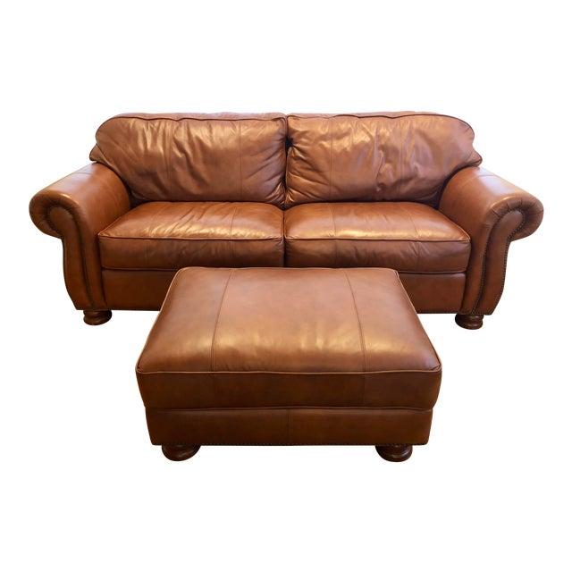 Thomasville Benjamin Brown Leather Sofa & Ottoman
