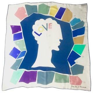 Vintage Yves Saint Laurent Love Print Silk Scarf For Sale