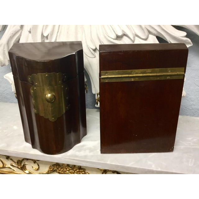 Metal Early 20th Century Antique Mahogany Knife Document Boxes - A Pair For Sale - Image 7 of 11