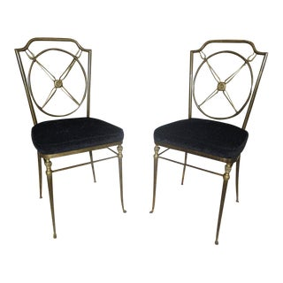 1920s Vintage French Directoire Style Paw Feet Side Chairs - A Pair