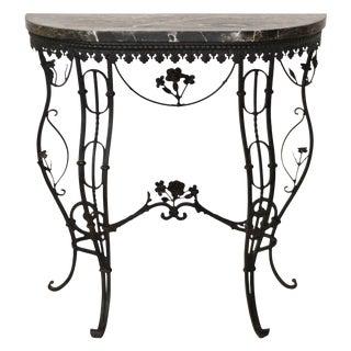 Hollywood Regency Style Italian Wrought Iron Console Table With Marble Top For Sale