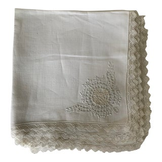 Set of 12 Antique Linen Dinner Napkins For Sale