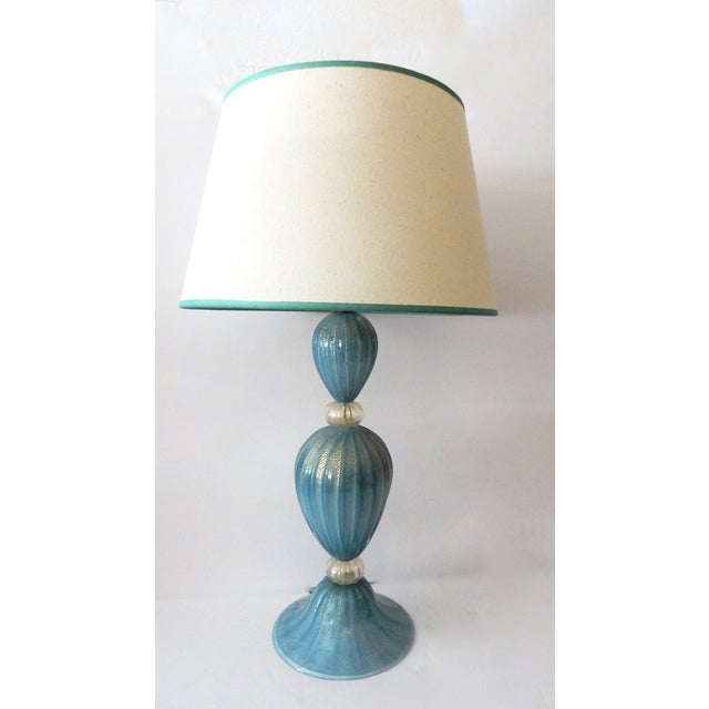 Turquoise Murano Glass Table Lamp - Image 7 of 7