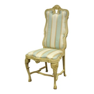 Vintage Swedish Rococo French Style Shell Carved Cream Painted Side Accent Chair For Sale