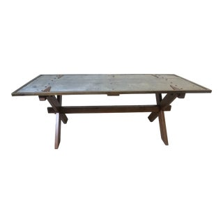 Vintage Industrial Reclaimed Barn Door Farm Table with Metal Top For Sale