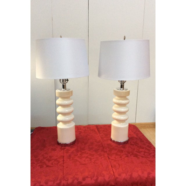 1970s Modern Chrome & Ceramic Table Lamps - Image 2 of 8