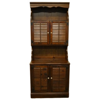 1970s Ethan Allen Antiqued Pine Old Tavern Shutter Door Cabinet With Bookcase Door Hutch For Sale