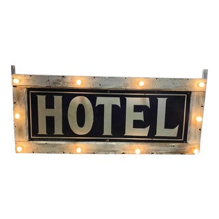 1905 Light Up Double Sided Hotel Sign For Sale