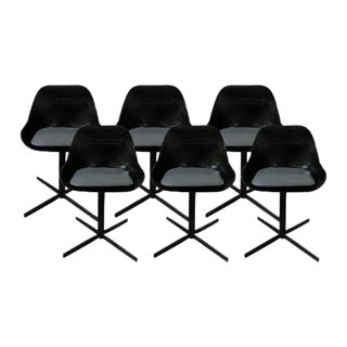 Modern Black Acrylic Dining Chairs - Set of 6 For Sale