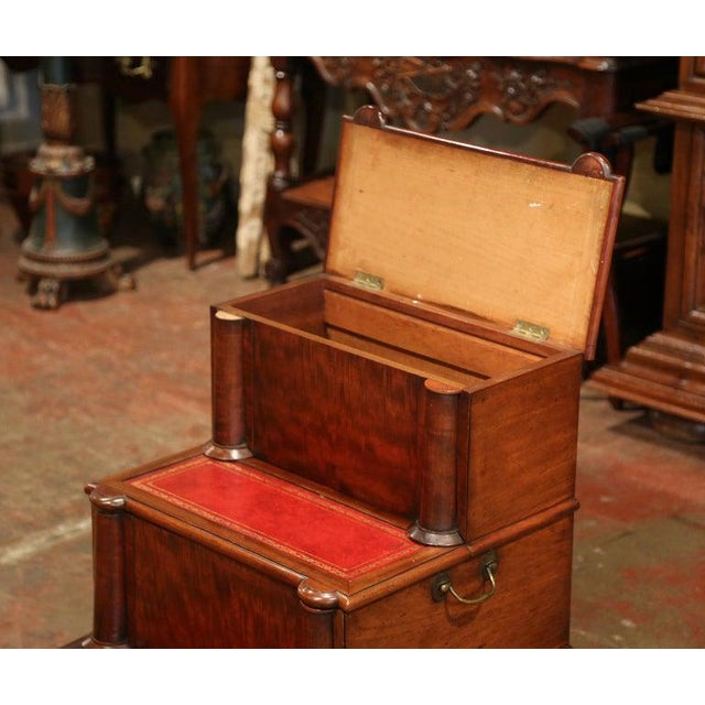 Metal 19th Century English Mahogany and Red Leather Library Step Ladder With Storage For Sale - Image 7 of 9